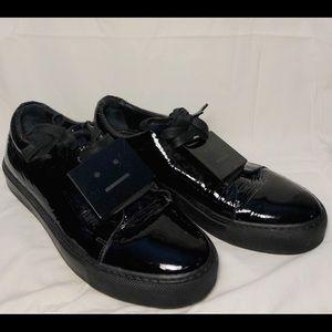 Acne Studios Patent Leather Low-Top Sneaker, black